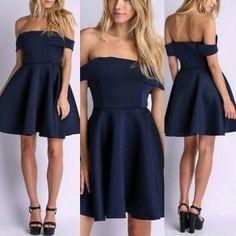 Navy Blue Plain Pleated Boat Neck Short Sleeve Mini Dress