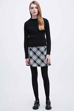 Cooperative Tartan Side Button A-Line Skirt in Mono