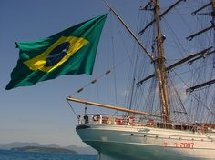 Brazil's Cisne Branco looks beautiful flying her nation's colors! You can get a sea-view of Cisne Branco through Boston's Best Cruises. (Ahoy 1812 -- Boston's Best Cruises)