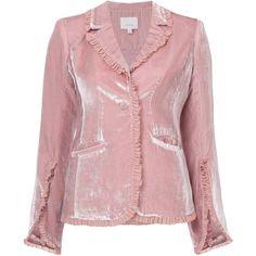 Cinq A Sept velvet ruffled blazer ($525) ❤ liked on Polyvore featuring outerwear, jackets, blazers, blazer, pink jacket, ruffle jackets, ruffle blazer jacket, mauve jacket and velvet blazers