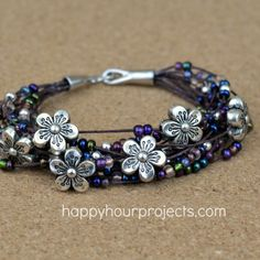 Floral Layered Bracelet Video Tutorial at www.happyhourprojects.com #CraftsUnder10HOA #sponsored