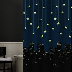 Shower curtain that glows in the dark.  Could be good for a regular curtain in the nursery.