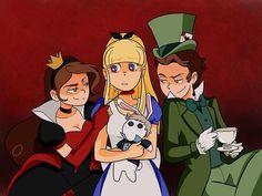 Mabel:La Reina de Corazones,Dipper:El Sombrerero loco y Pacifica:Alicia