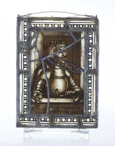 GLASS WINDOW, Southern Germany, dated 1522 -- Glasfönster 1500-tal, Sannolikt Sydtyskland. Motiv av adelsman med texten Ulrichus Ab Huttene. Daterat 1522. Blyinfattat glas. 23 x 17.