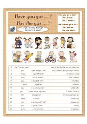 English worksheet: Have you got / Has she/he got ... - with short answers