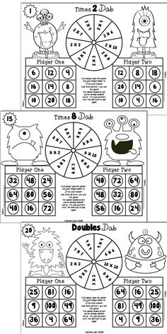 Monster Multiplication Games ~ 25 Print and Play Bingo Dabber Games to 10 X 10 Play Math Games, Multiplication Games, Maths Puzzles, Math Activities, Fourth Grade Writing, Third Grade Math, Bingo Dabber, After School Tutoring, Homeschool Math