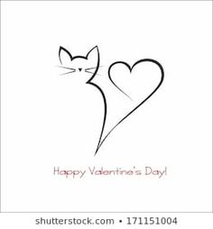 Similar Images, Stock Photos & Vectors of Calligraphy cat - 137168216 Cute Tattoos, Small Tattoos, Cat Silhouette Tattoos, Arte Fashion, Cat Tattoo Designs, Cat Quilt, Cat Drawing, Wire Art, Doodle Art
