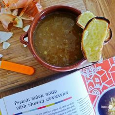 French Onion Soup from Little Kitchen, Around the World - Wholesome Cook Kids Cookbook, European Cuisine, Little Kitchen, Onion Soup, French Onion, Soups And Stews, Nom Nom, Food And Drink, Vegetarian