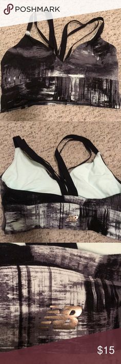 New balance sports bra. Size L Strappy sports bra. Size L New Balance. Cute straps in front and back. It just didn't look good with my workout tops lol. Worn once New Balance Intimates & Sleepwear Bras