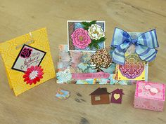 """my samples """"Mothers day cards"""" : Stepper Card(Magenta template) gift box, mini box...."""