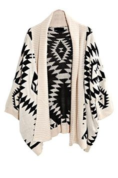 Womens Aztec Open Front Bubble Knitted Shawl Ladies Long Sleeves Sweater Wrap