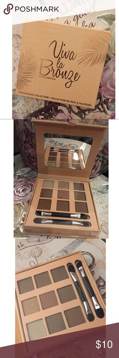 Viva La Bronze Eyeshadow Palette Viva la Bronze Eyeshadow Collection includes 9 Neutral shadows and two brushes! New and sealed. Never used or swatched. 0.14oz/11.7g Style Essentials Makeup Eyeshadow