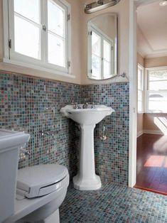 Colorful Small Bathroom Ideas - Dark Small Bathroom Ideas - Shades small bathroom remodel - small bathroom combination - White Black Stripe Bathroom Remodel - Lighting Bathroom Ideas - White Soft Green Bathroom Ideas - Vertical Lines Small Bathroom Ideas - Blue White Bathroom Ideas