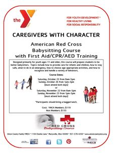 NEW Course at the Y! American Red Cross Babysitting Course