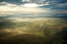 Spectacular sunrise, misty Mostviertel, Lower Austria Austria, Summer Activities, Airplane View, My Photos, Sunrise, Clouds, Vacation, Nature, Painting