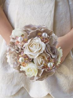 Hey, I found this really awesome Etsy listing at http://www.etsy.com/listing/171920624/taupe-bridesmaids-bouquet-with-pearl-and