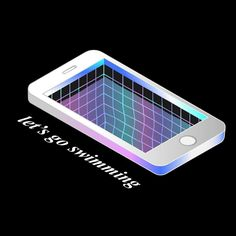 jump right in  -- #illustration #phone #pastel #iphone #internet #pool #water #net #mesh #gradient #swimming #facebook #iso #isometric #depth #deep #interwebs by _nicoleruggiero