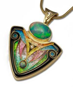 Falcher Fusager- Revelations TTPM Pendant: 24k gold cloisonne set in 14k yellow gold w/opals & diamonds