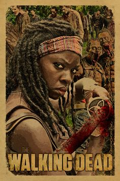 The Walking Dead poster featuring Michonne, her pet zombies and a herd of zombie walkers. Danai Gurira.12x18. Kraft paper. TV. Art. Print