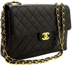 e4c296eef6d4 Chanel Vintage Timeless/Classique Black Leather Handbag Chanel Jumbo, Black  Leather Handbags, Chanel