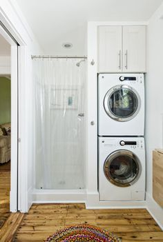 Laundry - stacked washed & dryer in bathroom, next to shower - Rock Paper Hammer, Architects & Designers