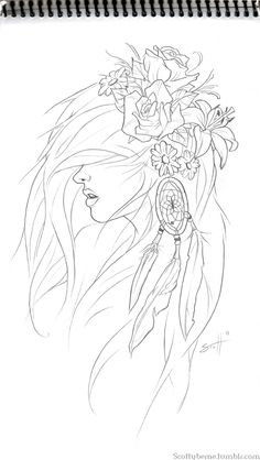 A sketch by Scott B .... Simple but potent strokes. This drawing isgood inspiration for painting, glass painting, mixed media, ribbon embroidery for flowers, etc. And a mirror or 2, along with real or woven feathers dangling on the dream-catcher !