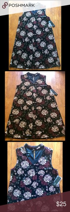 AGB Black Floral Velvet Tent Dress, Small, NWT Perfect dress for the cool Spring evenings. AGB Dresses Mini