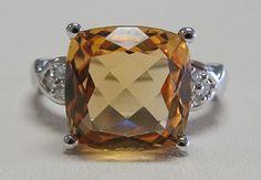 White Gold Cushion Cut Citrine & Diamond Ring