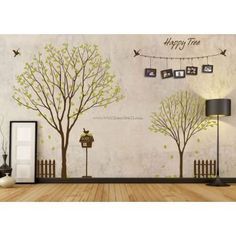 Happy Tree With Flying Birds Wall Decals