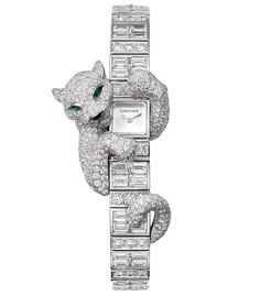 The true stunner is the Cartier Fabuleux Baguette Panthère watch with case and bracelet in white gold set with brilliant-cut and baguette-cut diamonds.