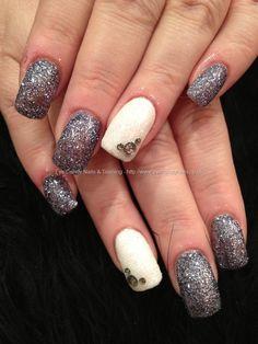 Charcoal grey and white glitter polish with black diamond Swarovski crystal nail art