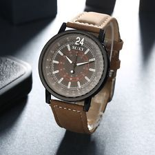 New Mens Stainless Steel Leather Band Analog Quartz Fashion Military Wrist Watch