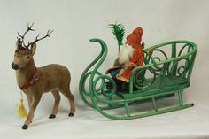 Antique German Santa on Sleigh with Reindeer Candy Container c1910