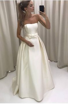 Simple Strapless Ivory Satin Wedding Dress Bridal Gown with a Bow,long prom dress M1827