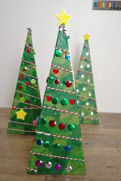 3-D Pyramid Christmas Tree Craft for Kids - Tissue Paper and Sequins