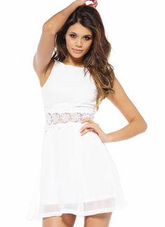 7817a509254 Off-white Day Dress - Cream Sequin Waist Chiffon Sleeveless