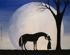 Original Painting Folk Art Horse Girl Woman Full Moon Silhouette Love Companion | eBay