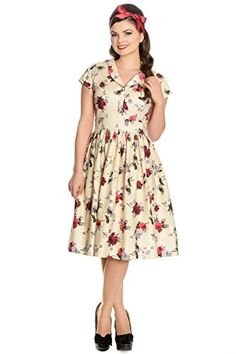 Hell Bunny Rosemary Floral 40s 50s Flare Dress  Beige M * Be sure to check out this awesome product.