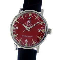 TISSOT SWISS SEA STAR SEVEN MANUAL WINDING WATCH  Feature : Center Second and Manual Winding Dial Features : Repainted Dial Dial Color : Red Markers : White Numeric and Luminescent Arrow Figures Case Material : Standard Stainless Steel Case Crown : Pull Band Type : Leather Hands : Steel Luminescent Hands Movement : Manual Winding Gender : Gents Machine No. : 781-1 Back No. : 41522 42592 1X Serial No. : 9076802 Jewels : 17  Case Diameter Size : 3.2 cm Side To Side Size : 3.4 cm (Including…