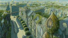 This Architect's Future 'Vegetal Cities' Transform Urban Areas Into Natural Paradises Luc Schuiten Green Architecture, Futuristic Architecture, Drawing Architecture, Future City, Fantasy World, Fantasy Art, Eco City, Futuristic City, Fantasy Inspiration