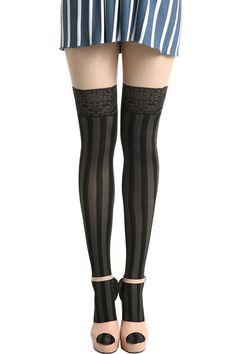 Black-skin Jacquard Vertical Tights...moulin rouge