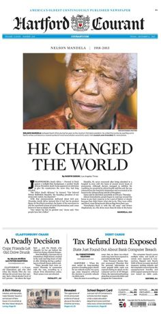 Nelson Mandela's Death, As Told By Newspaper Front Pages R.I.P Nelson