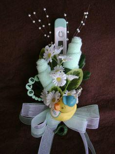 baby shower pinterest   Baby Washcloth Corsage / Boy or Girl Baby Shower by NonisNiche, $15.00 ...