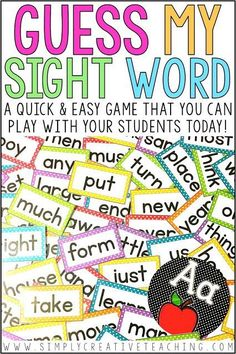 "This easy sight word game is perfect to use with extra time you may have in class! Students play a game called ""Guess My Sight Word"" where they use various phonics clues to help them figure out the word. It's easy to play and great to add to your word work center, literacy center, or partner games!"