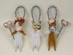 Romantic Chenille Cat Ornaments
