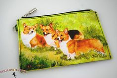 Corgi Dog Bag Zippered Pouch Travel Makeup Coin Purse available at www.DogLoverStore.com