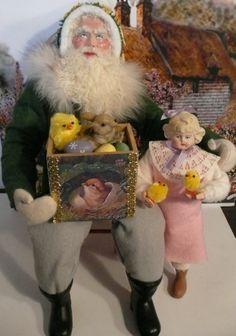 paper mache Santa, antique german head doll, Easter, Christmas