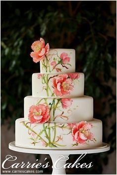 Beautiful Wedding Cakes, Gorgeous Cakes, Pretty Cakes, Cute Cakes, Amazing Cakes, Bolo Floral, Hand Painted Cakes, Gateaux Cake, Wedding Cakes With Cupcakes