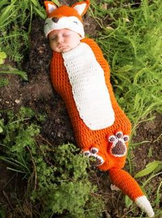 Oh my this is so cute!!! Baby Crochet Cocoon Fox Costume