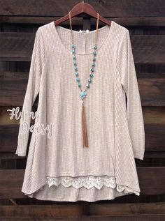 High-low Long Sleeve Lace Trim Tunic Top